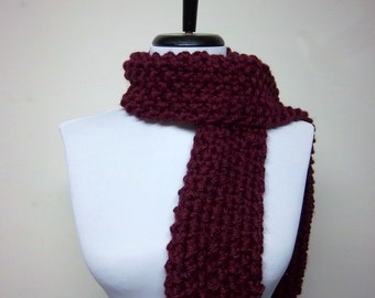 Men's or Unisex Scarf in Burgundy - Ready To Ship Woman's Scarf Oxblood Muffler Short Scarf Maroon Berry