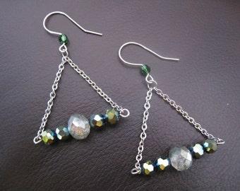 Green Crystal Swing Earrings