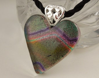 Valentine Heart - Dichroic Fused Glass Pendant - Heart Pendant - Dichroic Glass - Fused Glass - Heart Necklace - Earth Tone Necklace X8840