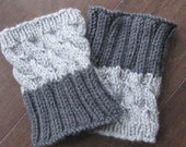 2 in 1 - REVERSIBLE Hand Knitted Boot Cuffs - SILVER and GREY