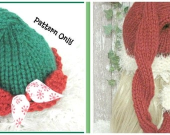Elf Hat and Santa Ho Ho Hat  Knitting Patterns  Sized Newborn, Baby, Child and Adult Two for One