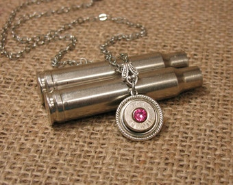 Breast Cancer Awareness - Bullet Jewelry - Nickel 45 Single Bullet Casing Pendant Necklace with PINK Swarovksi Crystal