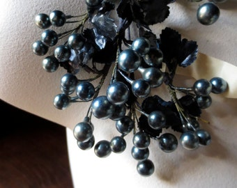 Pewter Gray Berry Spray Vintage for Bridal, Boutonnieres, Headpieces, Halos, Wreaths, Bouquets  ML 150