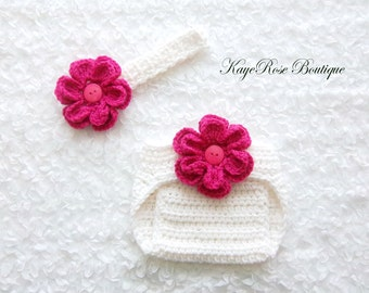 3 to 6 Month Old Baby Girl Crochet Flower Headband and Diaper Cover Set Pink and White