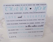 Thank You Reception Table Cards with Turquoise-Rehearsal Dinner-Formal Event-Printed on shimmery cardstock-Minimum 20 cards