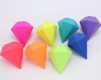Geometric Paper Gem Ornaments - Paper Diamonds - Neon Bright Rainbow - Set of 8 -  template, pattern, DIY, origami