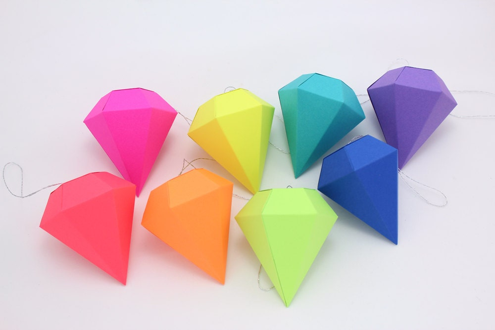 Christmas Decorations 3d Shapes Ks2 : Geometric paper gem ornaments diamonds neon bright