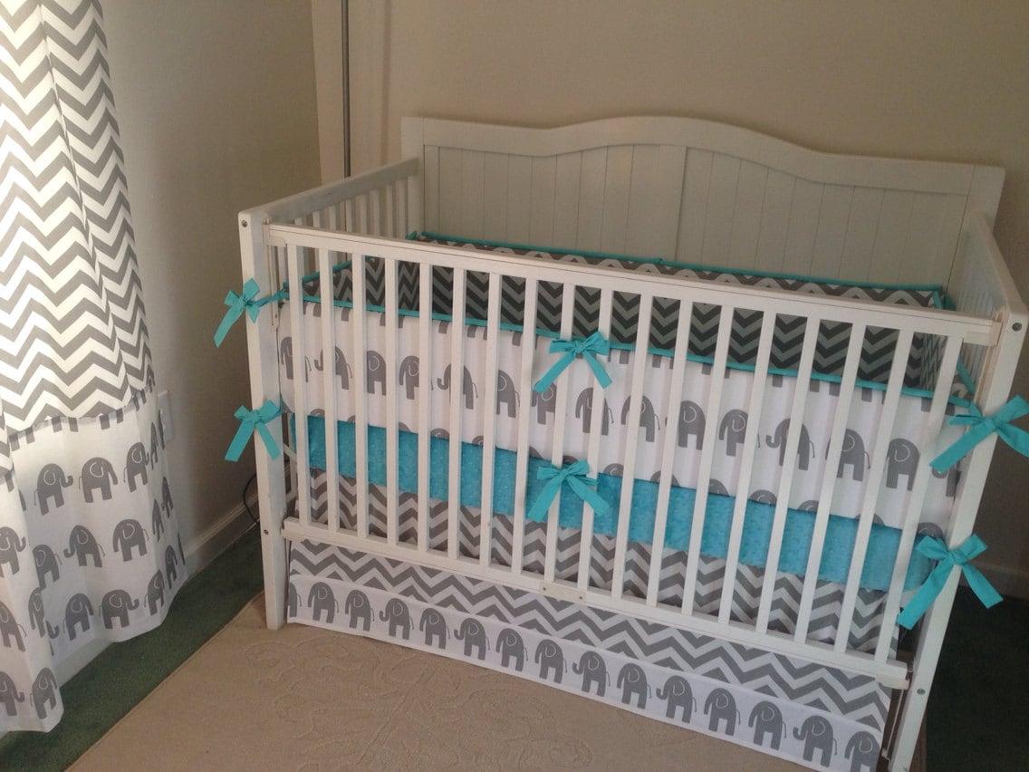 Crib Bedding Set Gray Aqua Elephant