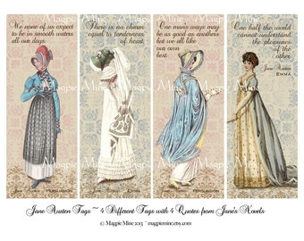 Jane Austen Tags or Bookmarks - Digital Download - Printable - Romantic Colors - Quotes - Instant Download