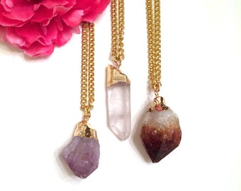 gold dipped amethyst necklace - gold dipped clear quartz pendant  -  gold dipped brown quartz stone necklace - layering boho-chic necklaces
