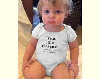 I Read the Classics baby bodysuit or toddler t shirt Little Literary Classics made to order size 3M to 4T