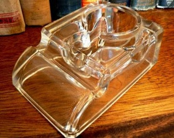 vintage office ... glass INKWELL single bottle vessel with PEN REST ink well  ...