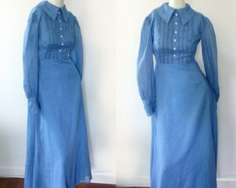 Beautiful vintage long dress, petite blue dress with a collar, tea party, wedding dress, evening dress by David E. Rea, turn of the century