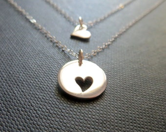 Mother daughter jewelry - mother daughter necklace - 2 delicate sterling silver heart necklaces - mother child jewelry mothers day gift