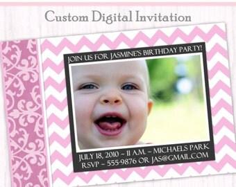First Birthday Photo Card Invitation - Chevron Invite, Damask Invite, First Birthday Invitation, custom design for YOU, 1st Birthday Invite