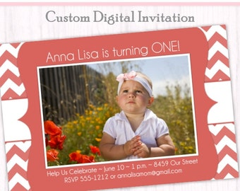 First Birthday Photo Card Invitation - custom design for YOU, First Birthday Invitation, 1st Birthday Invite, peach chevron