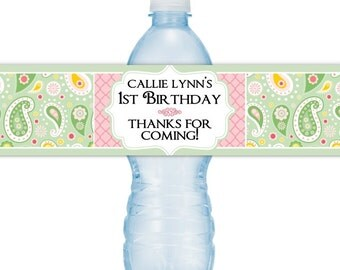 Custom 1st Birthday Water Bottle Labels, Paisley Water Bottle Labels, First Birthday Water Bottle Labels, Fit on 16.9 oz bottles