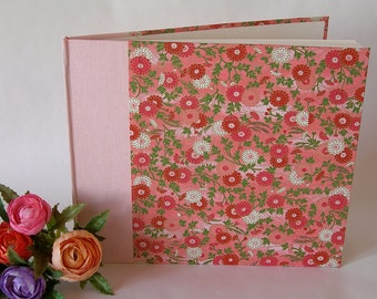Guest book unlined - pale pink and chrysanthemum chiyogami -8x9in 20x23cm - Ready to ship