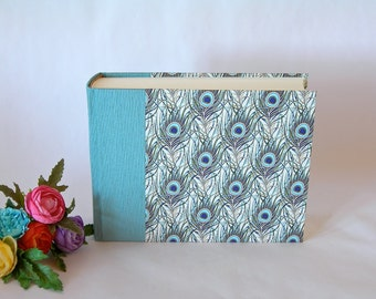 Photo album - aqua with peacock feathers -6x8in 15x20.5cm 50pages - Ready to ship