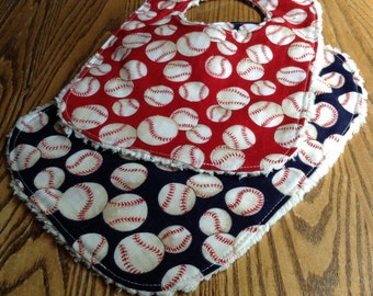 Set of 2 Baseball Baby Bibs, Red and Navy, Chenille Back, Snap Closure
