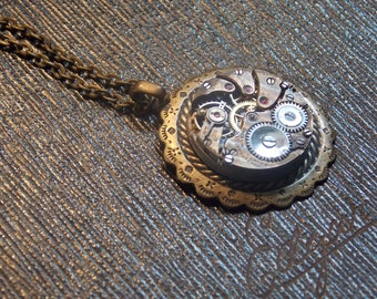 Steampunk Necklace Vintage Watch Movement Clockworks Brass Steampunk Jewelry