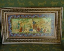 Iran Wall Art Hanging Persian Miniature Style Watercolor Original Painting Celluloid Middle Eastern Asian Indian