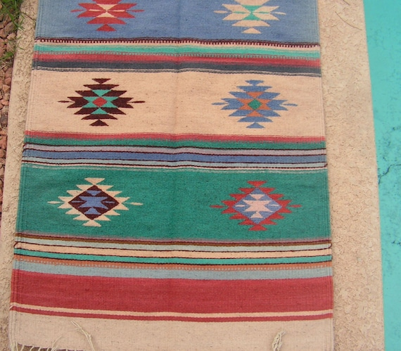 Vintage Zapotec Mexican Rug / Southwestern Indian Tribal Decor