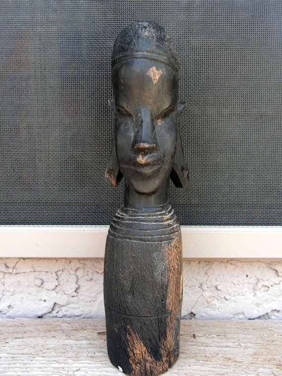 African woman tribal wood carving statue hand carved