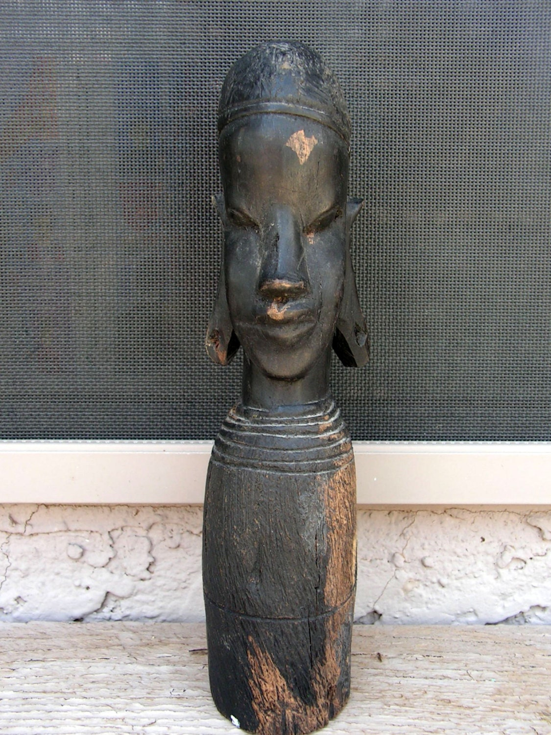 African woman tribal wood carving statue hand carved wooden