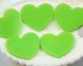 45mm Lime Green Solid Color Heart Cabochons - 4 pc set