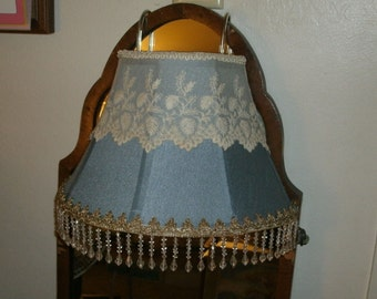 Blue Silk Bed Lamp with Bead fringe Vintage Embroidery Lace