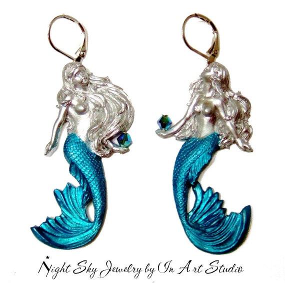 Mermaid Earrings Silver And Blue Mermaid Jewelry