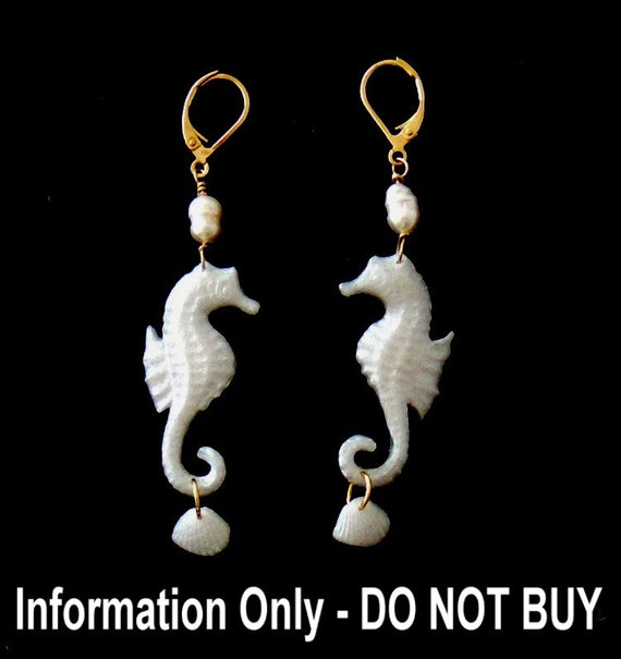 Seahorse Earrings Pearl Mermaid Jewelry, Information Only - DO NOT PURCHASE