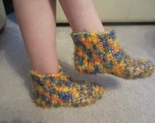 Size 7-8  Fuzzy Wuzzy High Top Multi Color Warm Trendy Slippers