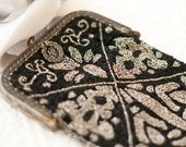 Antique Victorian Micro beaded framed purse, French steel silver and black damask, oxidized silver style formal bag
