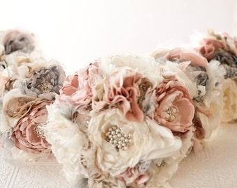 Fabric Flower Brooch Bouquet, Custom Wedding Bouquet, vintage rhinestone and pearl brooches, pink, gray, ivory