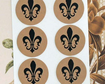 Stickers Fleur de lis Vintage Style Envelope Seals Party Favor Mardi Gras Treat Bag Sticker SP038