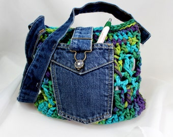 Hippie Chic Boho Retro Purse - Fully Lined - Hand Dyed Cotton Yarn and Vintage Jeans Upcycled