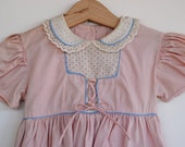Vintage 1940's Toddler Girl Dress - Pink Lace Up (2T)