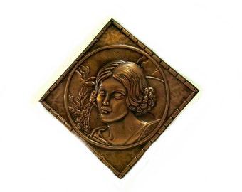 Copper Repousse Plaque Woman Albert Gilles Signed 1930s Vintage Portrait of a Woman Series