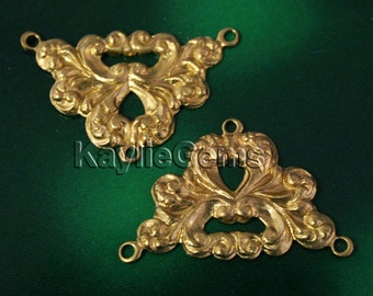 Filigree Stamping 3 Way Connector Victorian Art Nouveau -FI-R0991 - 2 pcs