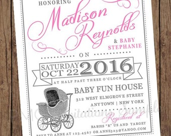 Pink Vintage Antique Baby Buggy Baby Shower Invitations - 1.00 each with envelope