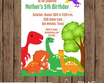 Custom Printed, Dinosaur Birthday Invitations - 1.00 each with envelope