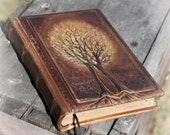 Rustic leather journal guest book two Trees of life 10 1/2 x 7 1/2