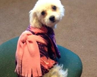 Purple Waves, Blush Hearts - Pet Poncho / Dog Clothes