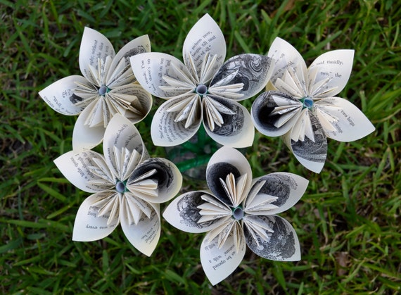 Through the Looking Glass Recycled Book Paper Flowers {5 Medium Size}