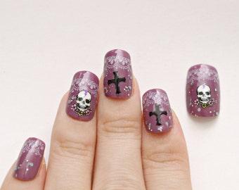 Nails, glue on nails, rock nails, punk nails, gothic nail, egl, lolita nails, dark, purple nail, press on nails, acrylic nail, Harajuku nail