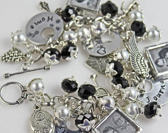 Grandma gift of personalized photo jewelry, custom photo charm bracelet, picture bracelet