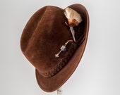 Vintage Flechet Mens Alpine Fedora, 1950s Brown Hat with Silver Deer Pins & Feather Fur Ornaments, Made in France