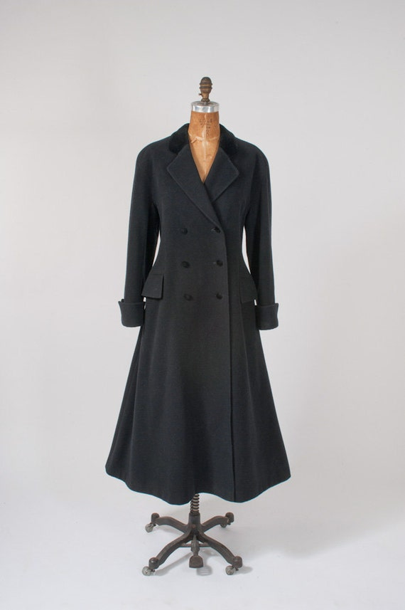 Vintage Laura Ashley Black Wool Riding Coat 1980s Victorian